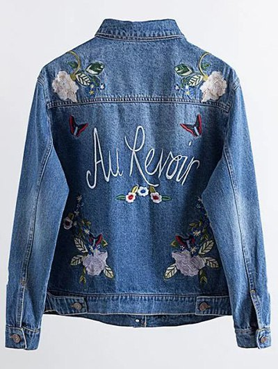 Flower Embroidered Pockets Jean Jacket - DENIM BLUE L Mobile