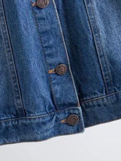 Flower Embroidered Pockets Jean Jacket - DENIM BLUE M Mobile