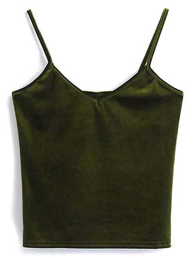 Velvet Cropped Cami Top - OLIVE GREEN ONE SIZE Mobile