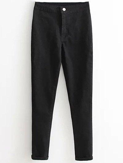 High Waist Skinny Tapered Jeans - BLACK L Mobile
