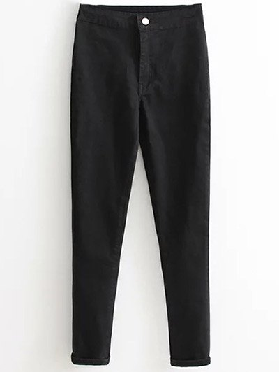 High Waist Skinny Tapered Jeans - BLACK M Mobile