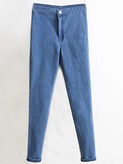 High Waist Skinny Tapered Jeans - DENIM BLUE M Mobile