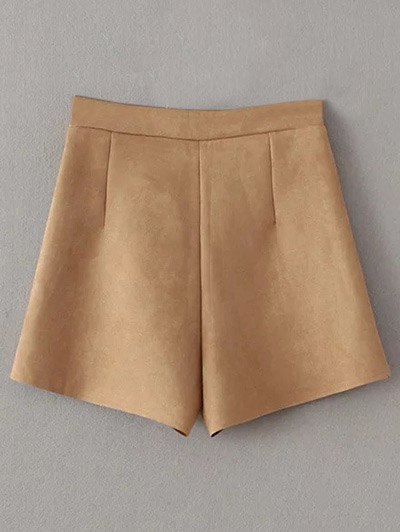 Suede Pockets Shorts - KHAKI M Mobile