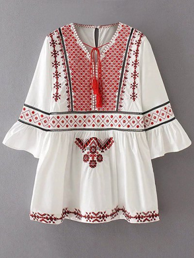 Flare Sleeve Embroidered A-Line Dress - WHITE M Mobile