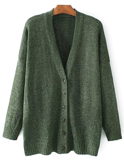 Oversized Single Breasted V Neck Cardigan - GREEN M Mobile
