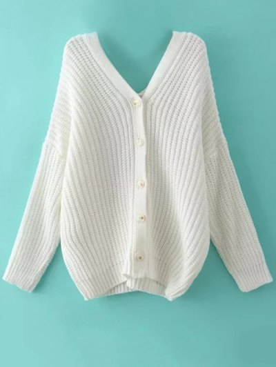 Buttoned Oversized Dolman Cardigan - WHITE L Mobile