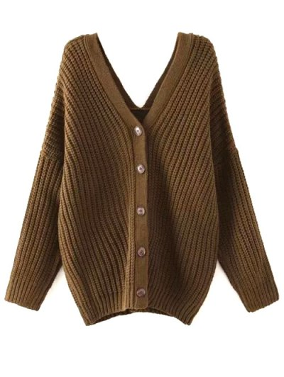Buttoned Oversized Dolman Cardigan - ARMY GREEN L Mobile