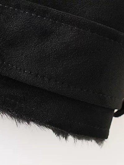 Zipped Faux Shearling Waistcoat - BLACK L Mobile