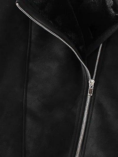 Zipped Faux Shearling Waistcoat - BLACK M Mobile