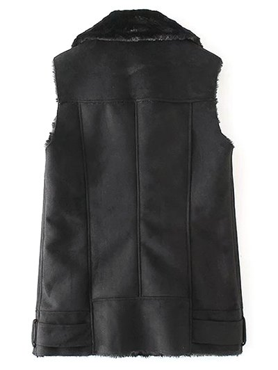 Zipped Faux Shearling Waistcoat - BLACK S Mobile