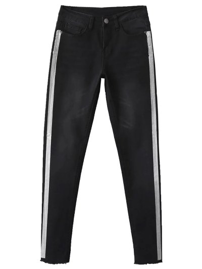 Frayed Tapered Slim Jeans - BLACK 38 Mobile