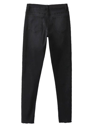 Frayed Tapered Slim Jeans - BLACK 34 Mobile