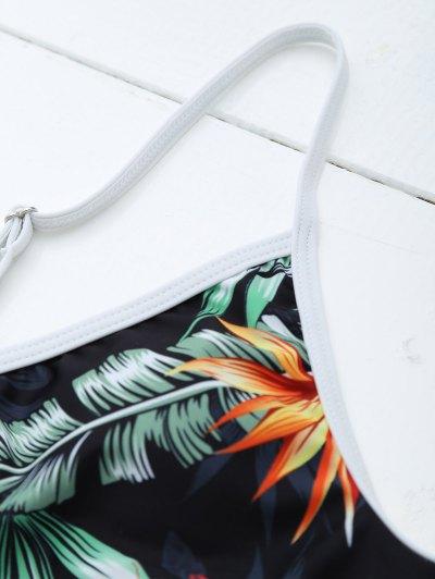 Backless Leaf Printed Swimwear - BLACK XL Mobile