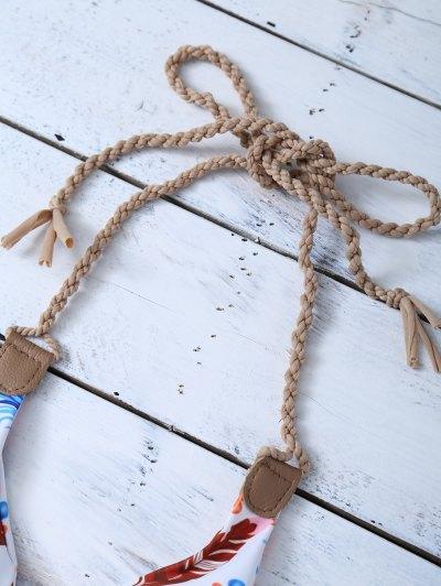 Halter Reversible Feather Print String Bikini - BLUE AND WHITE L Mobile