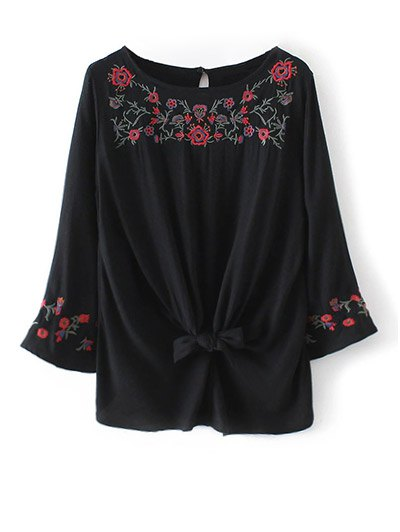 Flare Sleeve Floral Embroidered Blouse - BLACK L Mobile