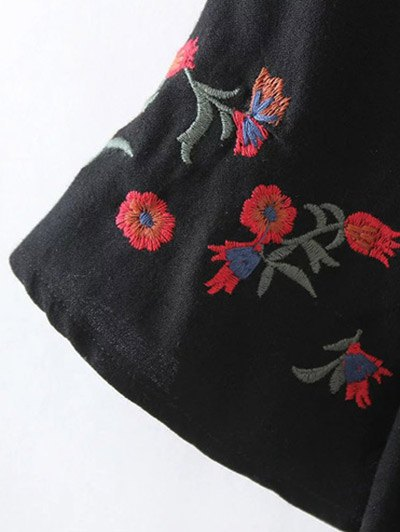 Flare Sleeve Floral Embroidered Blouse - BLACK S Mobile