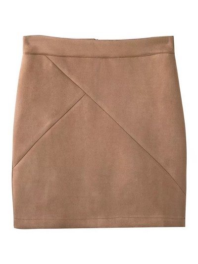 Fake Suede Mini Skirt - KHAKI M Mobile