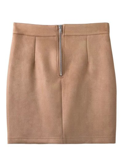 Fake Suede Mini Skirt - KHAKI S Mobile