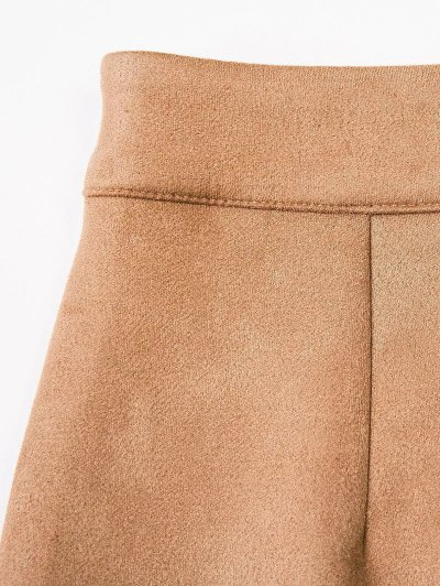 Fake Suede Mini Skirt - RED M Mobile