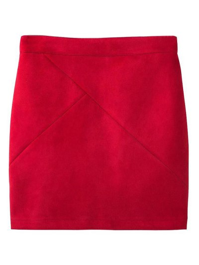 Fake Suede Mini Skirt - RED S Mobile