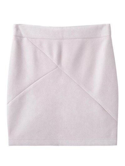 Fake Suede Mini Skirt - WHITE L Mobile