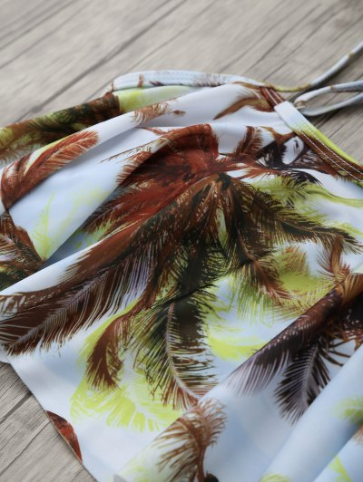 Coconut Palm Spaghetti Straps Padded Bikini - WHITE M Mobile