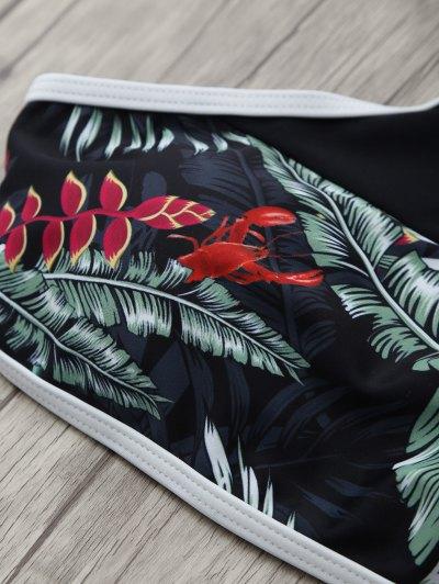 Racerback Leaf Print Bikini Set - BLACK L Mobile