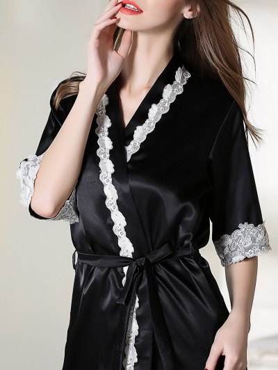 Belted Satin Sleep Kimono Robe - BLACK M Mobile