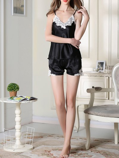 Satin Cami Top and Shorts Sleep Suit - BLACK L Mobile