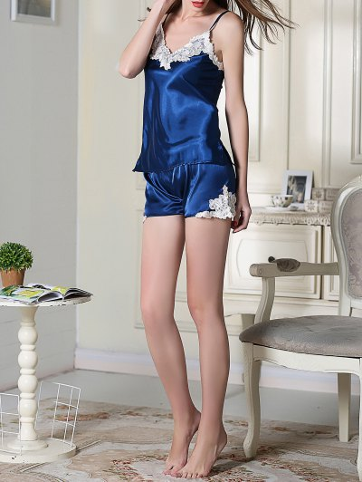 Satin Cami Top and Shorts Sleep Suit - ROYAL BLUE M Mobile