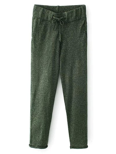 Knitted Drawstring Jogging Pants - GREEN S Mobile