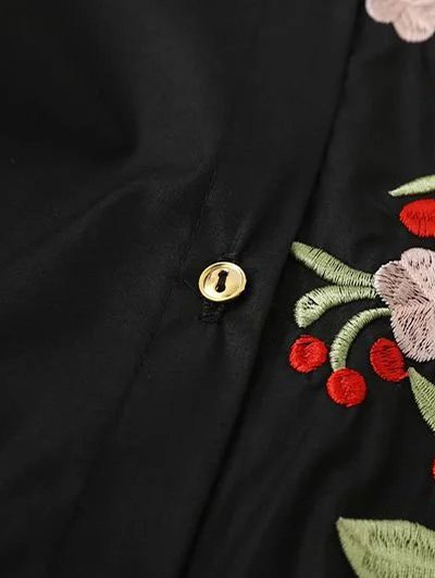 Floral Embroidered Long Sleeve A-Line Dress - BLACK M Mobile