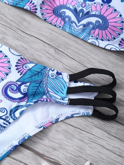 Strappy Bandeau Bikini Top and Bottoms - WHITE S Mobile