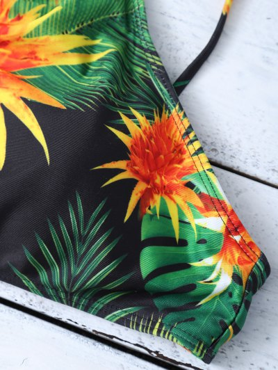 Cami Tropical Print Bikini Set - GREEN L Mobile