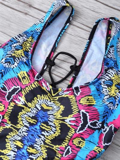High Leg Printed Swimsuit - MULTICOLOR M Mobile