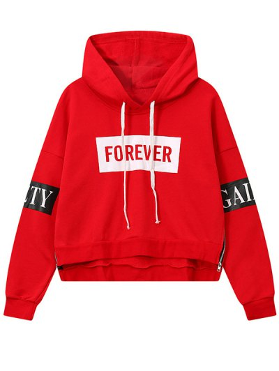 Side Zipper Graphic Patched Hoodie - RED ONE SIZE Mobile