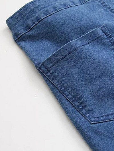 High Waist Skinny Tapered Jeans - DENIM BLUE M Mobile