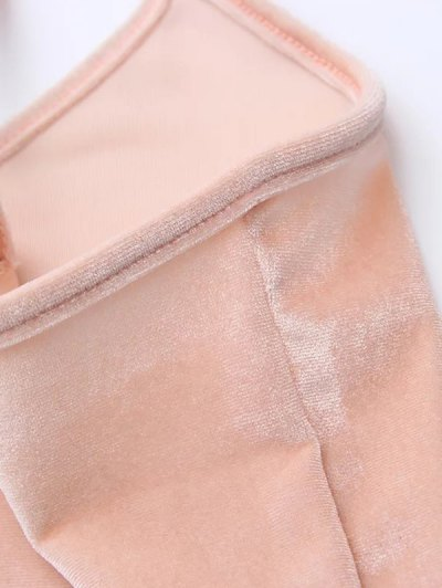 Velvet Cropped Cami Top - PINK ONE SIZE Mobile