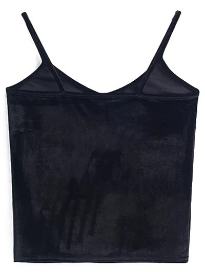 Velvet Cropped Cami Top - BLACK ONE SIZE Mobile