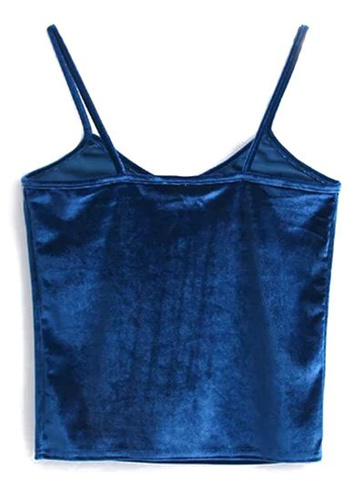 Velvet Cropped Cami Top - PEACOCK BLUE ONE SIZE Mobile