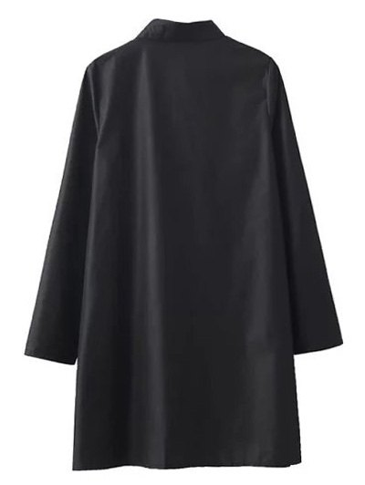 Floral Embroidered Long Sleeve A-Line Dress - BLACK L Mobile
