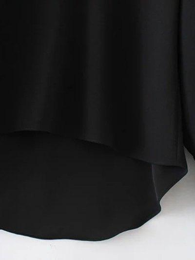 High Low Choker Blouse - BLACK L Mobile