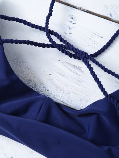 Strappy Cross Criss Bikini Set - PURPLISH BLUE M Mobile