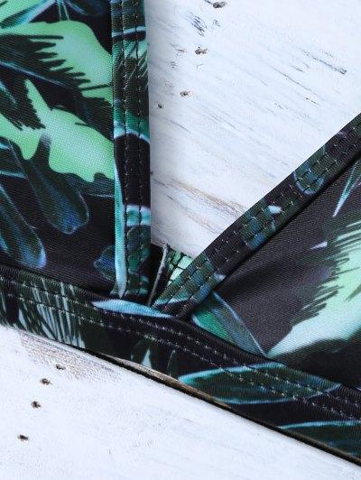 Printed Padded Spaghetti Strap Bikini - GREEN M Mobile
