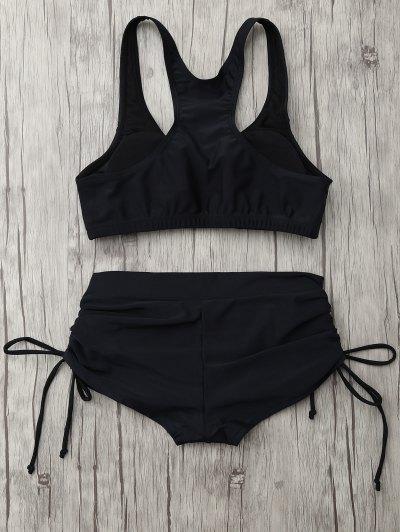 Lace Up Padded Sporty Bikini Set - BLACK L Mobile