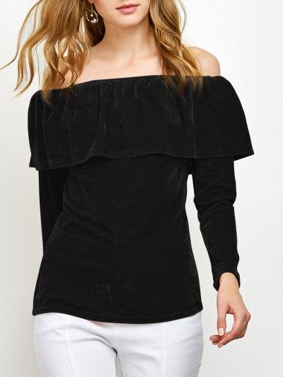 Velvet Off Shoulder Ruffles T-Shirt - BLACK L Mobile