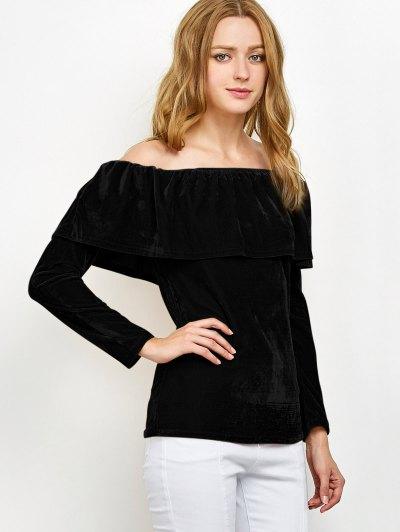 Velvet Off Shoulder Ruffles T-Shirt - BLACK S Mobile