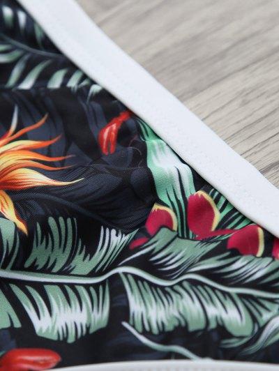 Halter Leaf Printed Bikini Set - BLACK XL Mobile