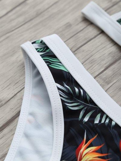 Halter Leaf Printed Bikini Set - BLACK S Mobile