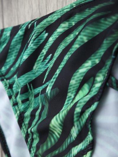Printed Underwire Strappy Bikini - GREEN M Mobile
